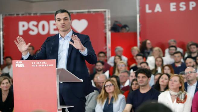 Pedro Sánchez en un acto público en Málaga en marzo de 2019