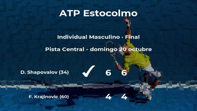Final del torneo ATP 250 de Estocolmo: el tenista Denis Shapovalov derrota a Filip Krajinovic