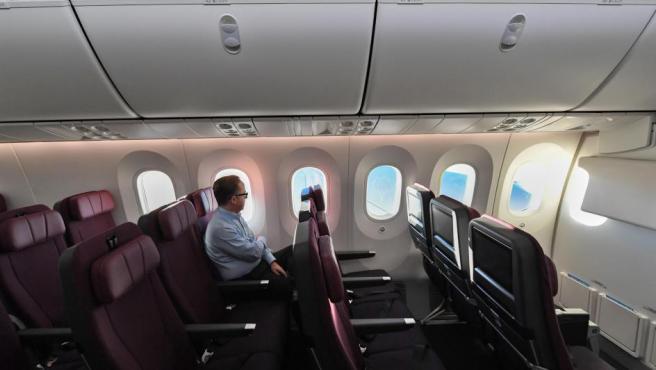 Imagen del interior del avión de la aerolínea Qantas que hizo por primera vez un vuelo entre Nueva York y Sídney sin escalas.