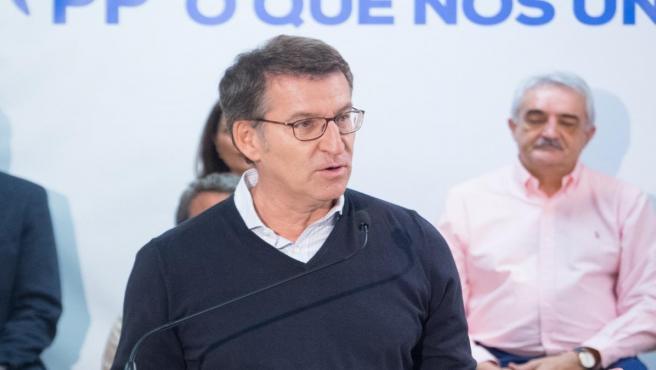 El presidente de la Xunta, Alberto Núñez Feijóo, en un acto de precampaña