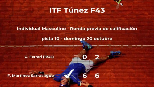 Felipe Martinez Sarrasague consigue vencer en la ronda previa de calificación contra el tenista Gianmarco Ferrari