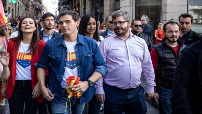 Baena asiste a la concentración de Cs en Barcelona bajo el lema '¡Basta ya!. Justicia y convivencia'