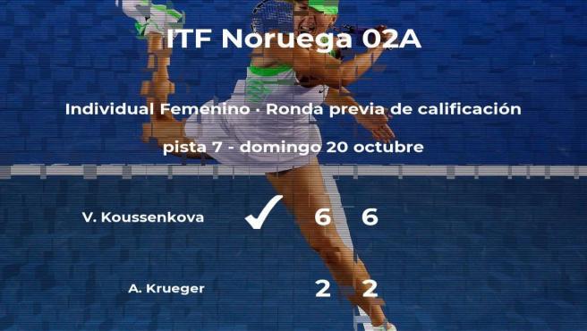 La tenista Valeria Koussenkova venció a la tenista Adelina Krueger en la ronda previa de calificación del torneo de Oslo