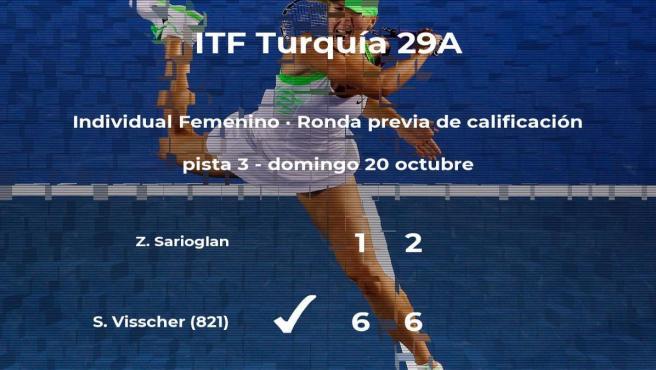 La tenista Stephanie Judith Visscher logra ganar en la ronda previa de calificación contra Zeynep Sena Sarioglan