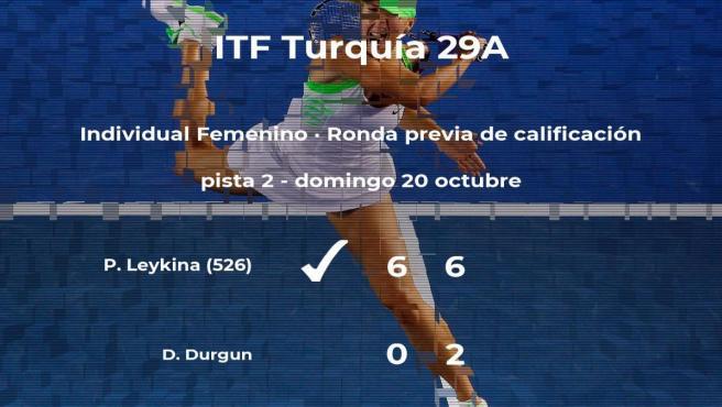 La tenista Polina Leykina consigue la plaza para la siguiente fase tras ganar en la ronda previa de calificación