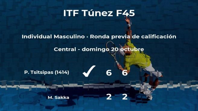 El tenista Petros Tsitsipas consigue la plaza para la siguiente fase tras vencer en la ronda previa de calificación