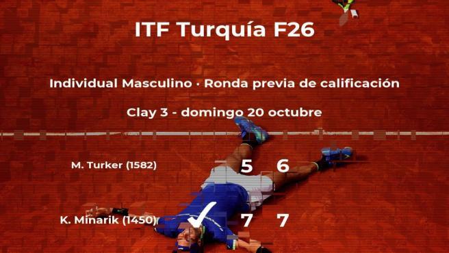 El tenista Kristof Minarik venció al tenista Mert Naci Turker en la ronda previa de calificación del torneo de Antalya