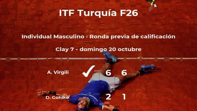 Augusto Virgili pasa de ronda del torneo de Antalya