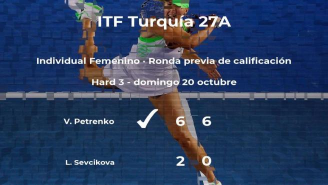 Victoria de la tenista Viktoriya Petrenko en la ronda previa de calificación