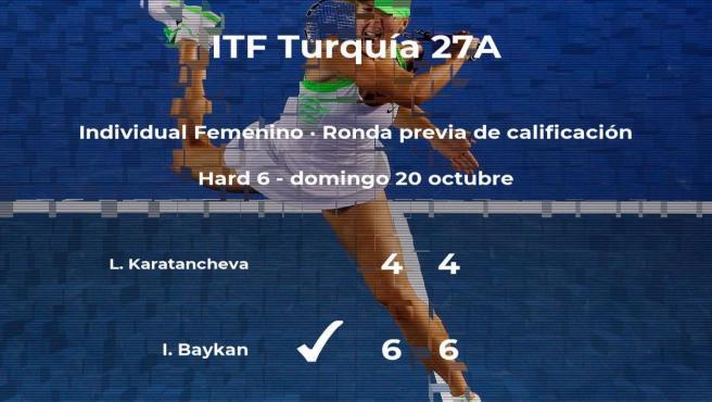 La tenista Ilayda Baykan logra ganar en la ronda previa de calificación a costa de la tenista Lia Karatancheva