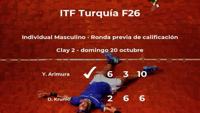 El tenista Yuji Arimura logra vencer en la ronda previa de calificación a costa del tenista Danilo Krunic