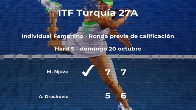 La tenista Mirabelle Njoze gana a la tenista Anja Draskovic en la ronda previa de calificación