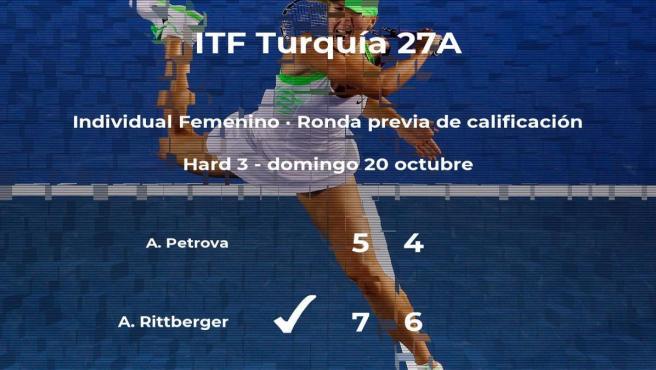 La tenista Annika Chiara Rittberger logra vencer en la ronda previa de calificación contra Anastasia Petrova