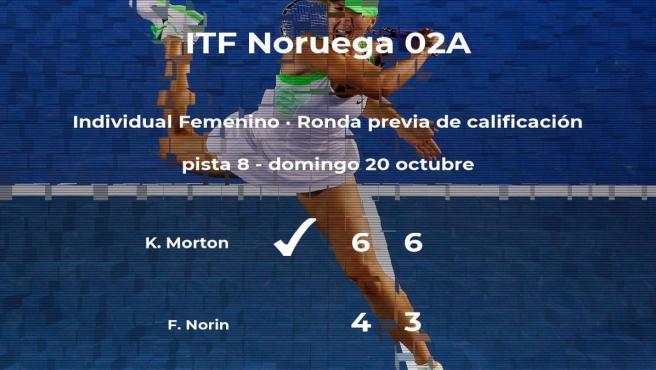 La tenista Katie Morton gana en la ronda previa de calificación del torneo de Oslo