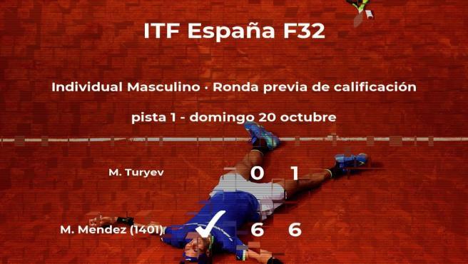 El tenista Matthew Mendez pasa a la siguiente fase del torneo de Benicarló