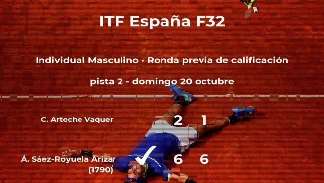 El tenista Álvaro Sáez-Royuela Ariza vence a Carles Arteche Vaquer en la ronda previa de calificación