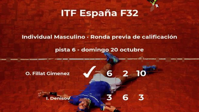 El tenista Oriol Fillat Gimenez vence en la ronda previa de calificación del torneo de Benicarló