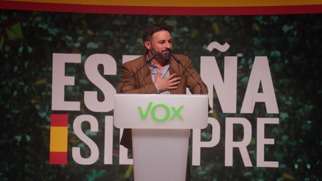 El presidente de Vox, Santiago Abascal, durante un acto de Vox en Bilbao a 20 de octubre de 2019