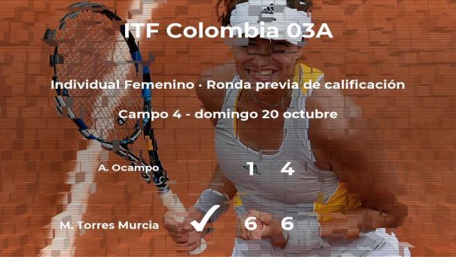 La tenista Maria Camila Torres Murcia consigue la plaza para la siguiente fase tras vencer en la ronda previa de calificación