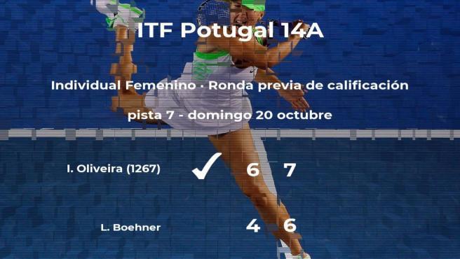 Ines Oliveira venció a la tenista Laura Boehner en la ronda previa de calificación del torneo de Lousada