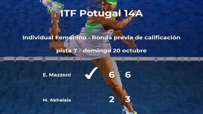 Emma Mazzoni consigue ganar en la ronda previa de calificación a costa de Mariami Akhalaia