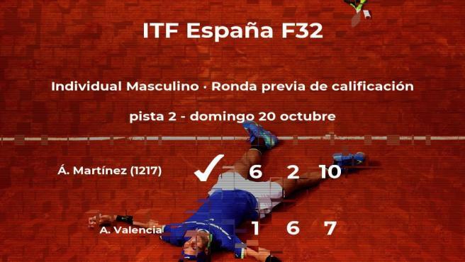 Álex Martínez vence en la ronda previa de calificación del torneo de Benicarló