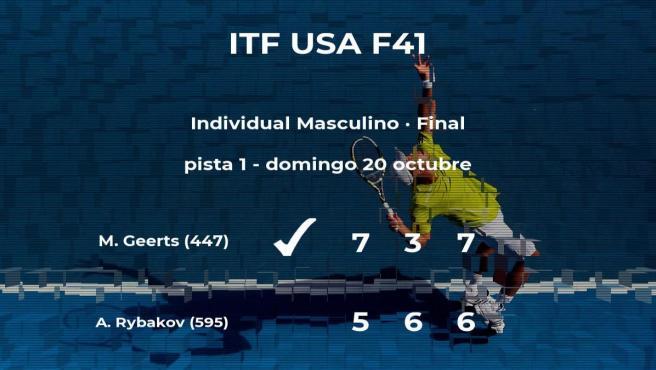 El tenista Michael Geerts gana la final del torneo de Waco
