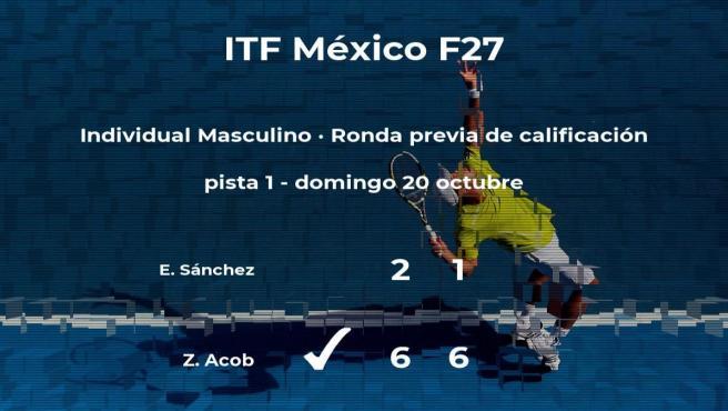 El tenista Zandrix Acob logra vencer en la ronda previa de calificación contra Erick Sánchez
