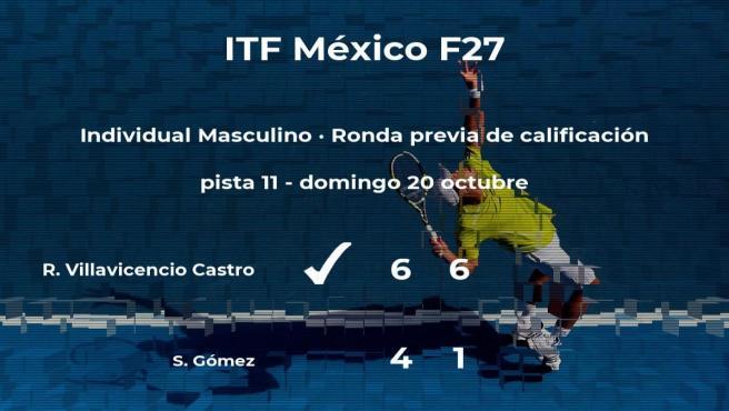Victoria para el tenista Rodolfo Villavicencio Castro en la ronda previa de calificación