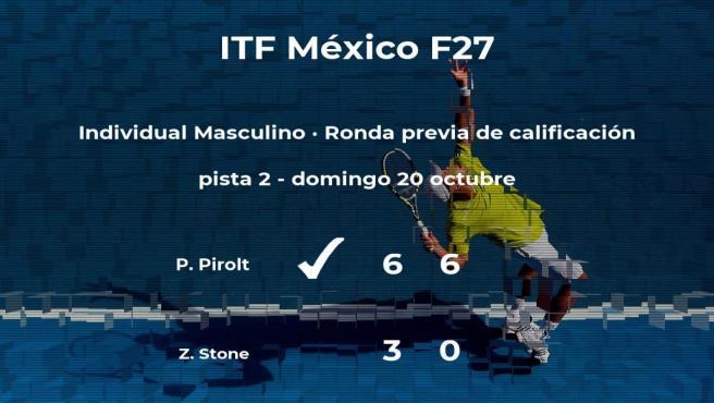 Pietro Pirolt venció a Zakai Stone en la ronda previa de calificación del torneo de Cancún
