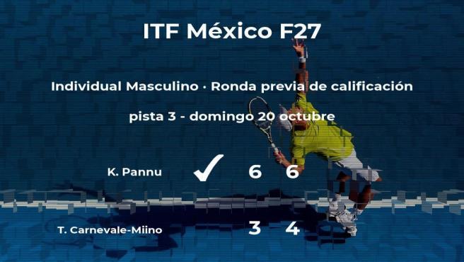 Kiranpal Pannu gana al tenista Tommaso Carnevale-Miino en la ronda previa de calificación