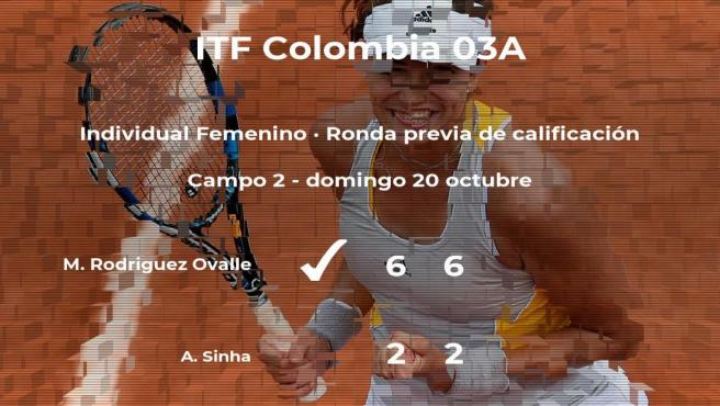 Maria Paula Rodriguez Ovalle consigue ganar en la ronda previa de calificación contra Aditi Sinha