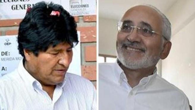 El presidente boliviano, Evo Morales, y el candidato opositor Carlos Mesa votan en las elecciones presidenciales de Bolivia, en La Paz.