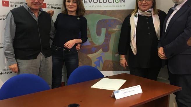 Javier Lasierra, Cheles Cantabrana, Rosa Serrano y Eloy Torre presentan el VIII Congreso Nacional de Alzheimer en Huesca.