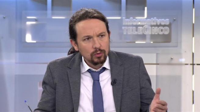 Pablo Iglesias, en una entrevista en Telecinco.