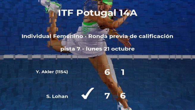 Sinead Lohan consigue ganar en la ronda previa de calificación a costa de Yarden Akler