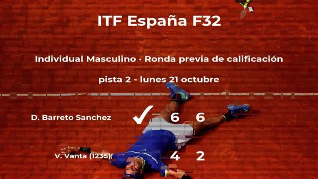 Diego Augusto Barreto Sanchez vence en la ronda previa de calificación del torneo de Benicarló