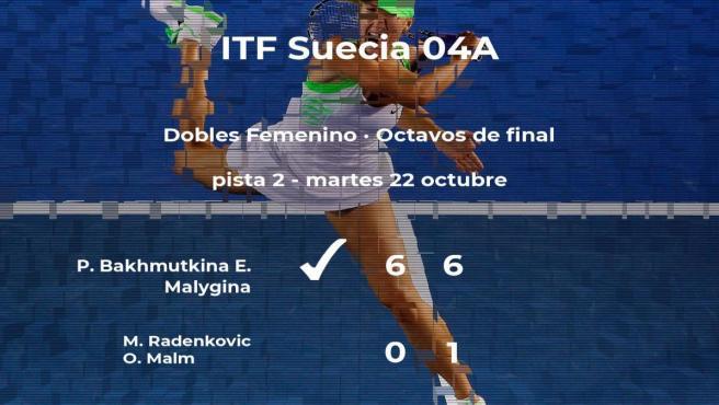Bakhmutkina y Malygina pasan a la siguiente fase del torneo de Estocolmo tras vencer en los octavos de final