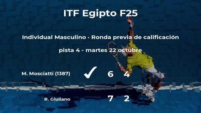 Marco Mosciatti pasa de ronda del torneo de Sharm El Sheikh