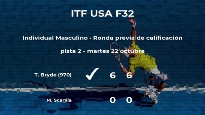El tenista Trent Bryde logra ganar en la ronda previa de calificación a costa del tenista Mathieu Scaglia