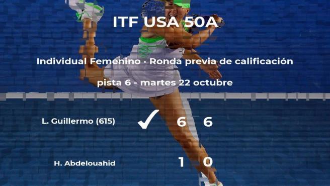 La tenista Lorraine M Guillermo gana a la tenista Hind Abdelouahid en la ronda previa de calificación
