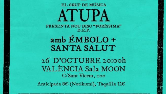 Cartell de la presentació de 'Foríssima', d'Atupa, a València
