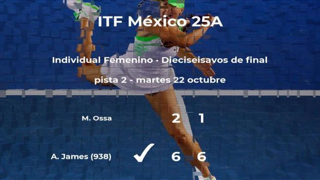Akilah James pasa a la próxima ronda del torneo de Metepec tras vencer en los dieciseisavos de final