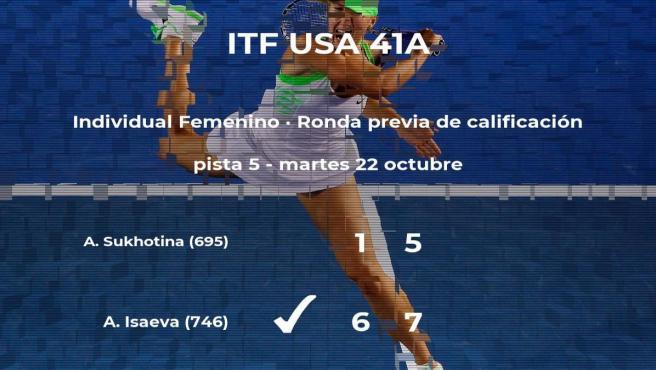 La tenista Anhzelika Isaeva venció a la tenista Anastasia Sukhotina en la ronda previa de calificación del torneo de Macon