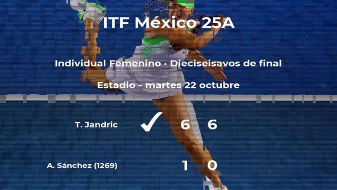La tenista Tea Jandric pasa a la próxima fase del torneo de Metepec tras vencer en los dieciseisavos de final