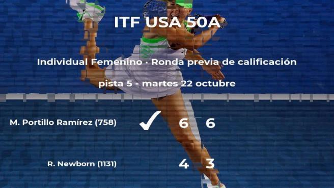 La tenista María José Portillo Ramírez consigue la plaza para la siguiente fase tras ganar en la ronda previa de calificación