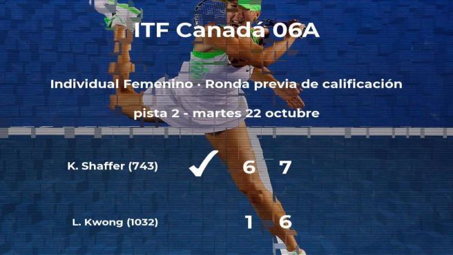 La tenista Kennedy Shaffer logra vencer en la ronda previa de calificación contra la tenista Louise Kwong