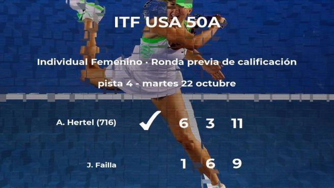Victoria de Ania Hertel en la ronda previa de calificación