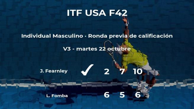 El tenista Jacob Fearnley logra vencer en la ronda previa de calificación contra el tenista Luc Fomba