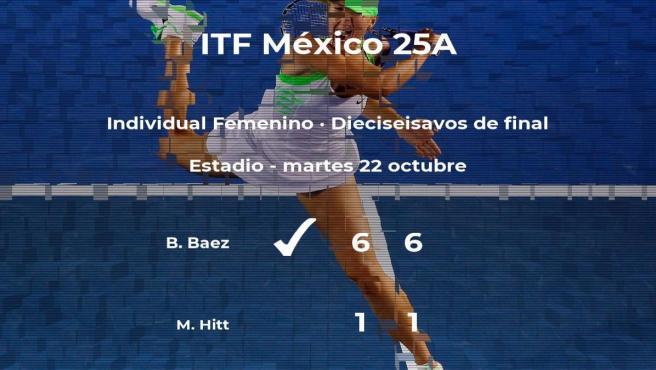 La tenista Brenda Sarahi Baez pasa a la siguiente fase del torneo de Metepec tras vencer en los dieciseisavos de final